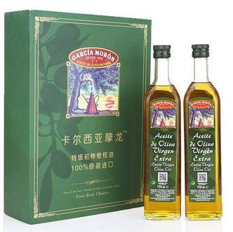 西班牙GARCIAMORON卡尔西亚摩龙特级初榨橄榄油精装礼盒750ml*2瓶 69.9元包邮,库存不多,手慢无