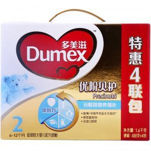 Dumex 多美滋 金装 优阶贝护2段 延续较大婴儿配方奶粉 1600g盒装321元,下单立减58元,实付263元,限华东