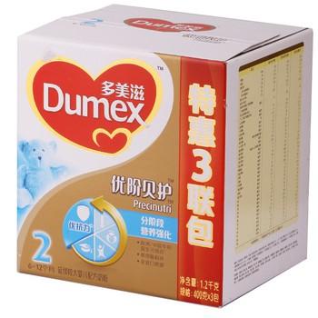 多美滋 Dumex 进口奶源 金装优阶贝护2段延续较大婴儿配方奶粉1200克(3联包)119元119元包邮