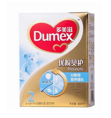 多美滋金装优阶贝护延续较大婴儿配方奶粉2段400g盒装46元