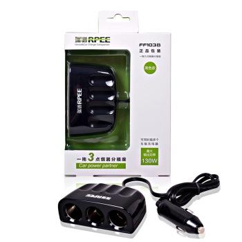 限购1件:瑞谱一分三插座车载充电器电源分配器130w ff103b