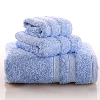 法国梦特娇 巴基斯坦棉 毛巾浴巾3件套50.9元包邮(100.9-50)